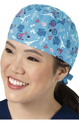 Clearance Zoe and Chloe Women's Adjustable Paris Pets Print Scrub Hat