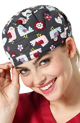 Zoe and Chloe Women's Adjustable Bird Print Scrub Hat