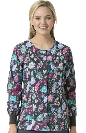 Clearance Zoe and Chloe Women's Snap Front Autumness Print Scrub Jacket