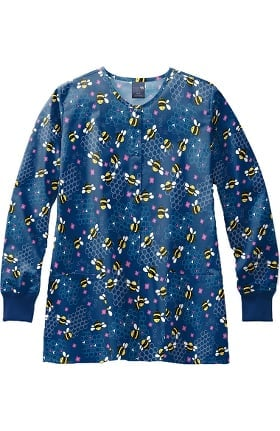 Zoe and Chloe Women's Bee Lieve Print Scrub Jacket
