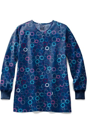 Clearance Zoe and Chloe Women's Cheery O Print Scrub Jacket