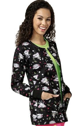 Zoe and Chloe Women's Snap Front Koala Print Scrub Jacket