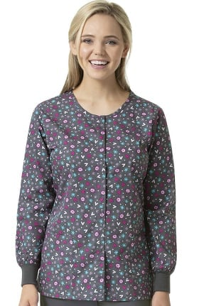 Zoe and Chloe Women's Snap Front Heartfelt Print Scrub Jacket