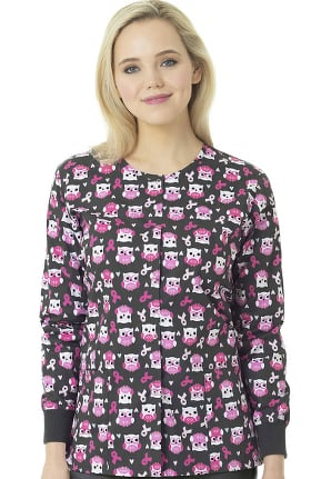 Clearance Zoe and Chloe Women's Snap Front Hopes & Wishes Print Scrub Jacket