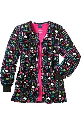 Zoe and Chloe Women's Love Struck Print Scrub Jacket