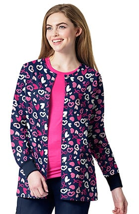 Zoe and Chloe Women's Snap Front Breast Cancer Awareness Print Scrub Jacket