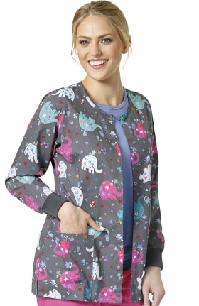 Zoe and Chloe Women's Snap Front Elephant Print Scrub Jacket