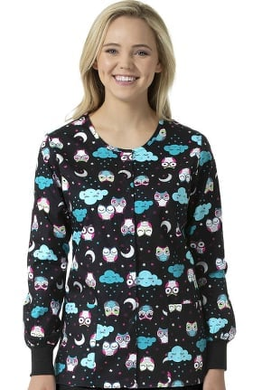 Zoe and Chloe Women's Snap Front Nocturnal Friends Print Scrub Jacket