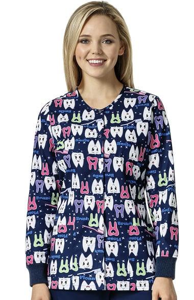 Zoe and Chloe Women's Snap Front Dental Print Scrub Jacket ...