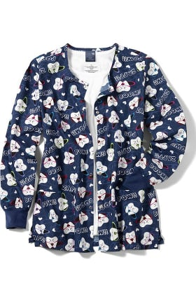 Zoe and Chloe Women's Warm Up Super Tooth Print Scrub Jacket