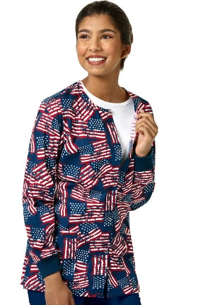 Zoe and Chloe Women's Snap Front American Flag Print Scrub Jacket