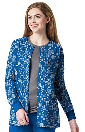 Zoe and Chloe Women's Snap Front Snowflake Print Scrub Jacket