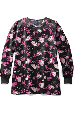 Zoe and Chloe Women's Hope Full Print Scrub Jacket
