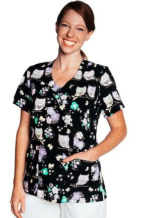 Clearance Tasha + Me Women's V-Neck Owl Print Scrub Top