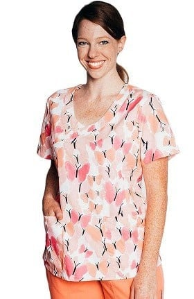 Clearance Tasha + Me Women's Mock Wrap Butterfly Print Scrub Top