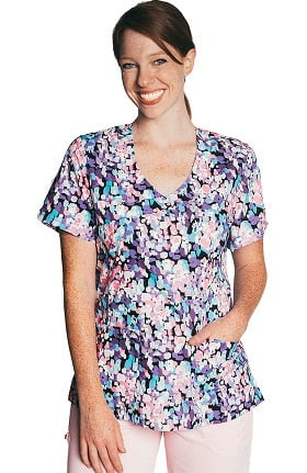 Tasha + Me Women's Mock Wrap Abstract Print Scrub Top