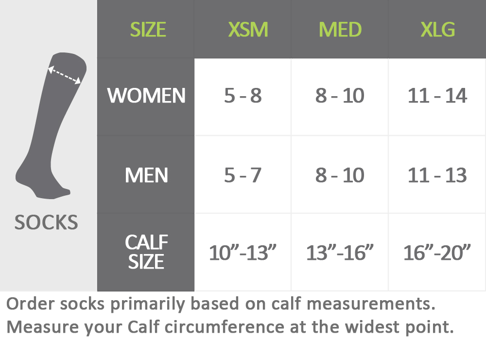 Pro Compression Unisex Size Chart